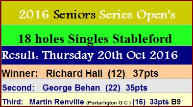 2016 Seniors Series Opens, Newbridge Golf Club