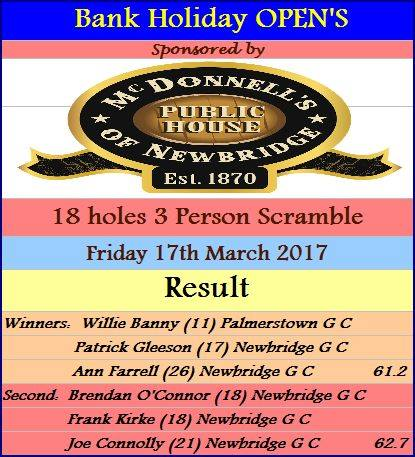 03.17 Bank Holiday 18 Hole 3 Person Scramble