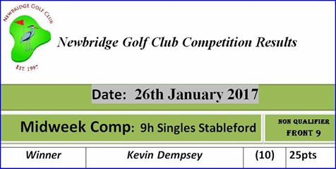 03 Midweek Comp 2017 26th January 9h Singles Stableford Midweek Comp