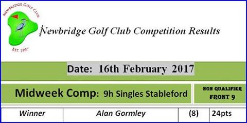 07 Midweek Comp 2017 16th February 9h Singles Stableford Midweek Comp