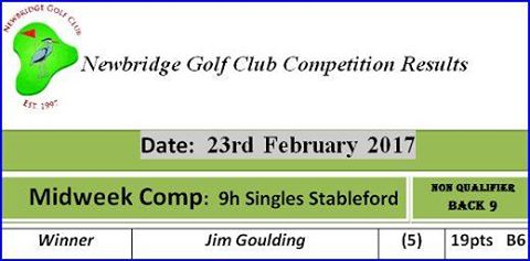 08 Midweek Comp 2017 23rd February 9h Singles Stableford Midweek Comp