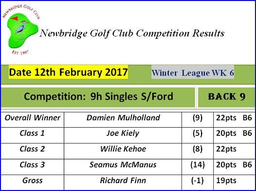 Winter League - 06 - 2017 10th to 12th February 9h Single Stableford (Week 6 Winter League)