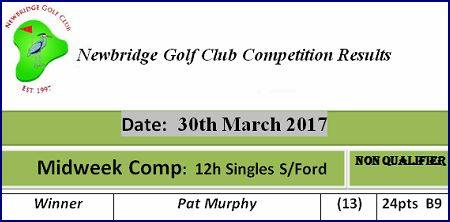 10 Midweek Comp 2017 30th March 12h Singles Stableford Midweek Comp