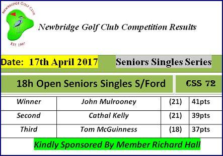 Seniors Singles Series Open Wk01 17th April