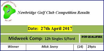 04.27 Midweek Comp 2017 27th April 12h Singles Stableford Midweek Comp